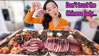 GIANT SQUID ft. SQUID INK PASTA + SHRIMP/SCALLOPS MUKBANG | Eating Show