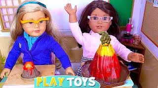 Baby Doll Morning Routine for School with Volcano Experiment!