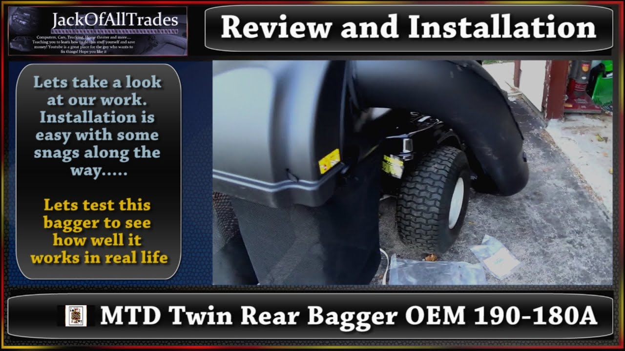 Mtd Twin Rear Bagger Oem 190 180a Review And Installation