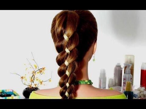 Плетение кос с лентой: 4