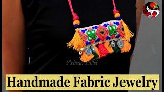 Handmade Fabric Jewelry Making | DIY Fabric Jewellery Neckpiece Design | @artisanpallet