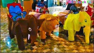 #3 naik robot odong odong bentuk binatang hewan lucu banyak sekali bersama teman di mall