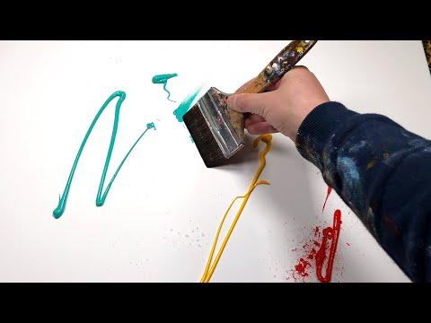 Peinture Abstraite Démonstration à l'Acrylique avec bande de masquage   Wotan