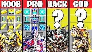 Minecraft Battle: SUPER TRANSFORMERS CRAFTING CHALLENGE - NOOB vs PRO vs HACKER vs GOD ~ Animation