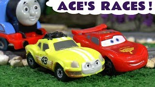 Thomas & Friends Ace races Cars McQueen - Big World Big Adventures toy train story for kids TT4U