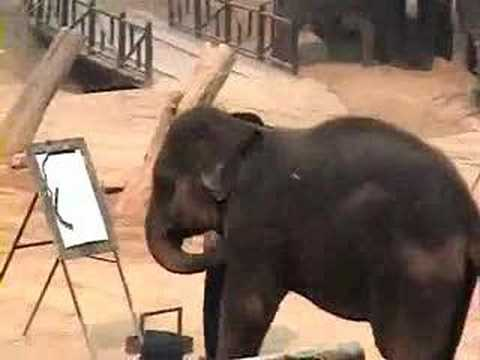 Elephant Paya Paints a Self Portrait