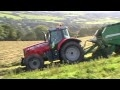 Baling Silage on the Hill - with Massey-Ferguson 7495.
