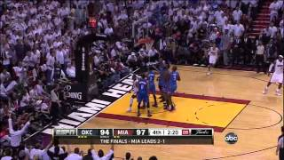 LeBron James clutch 3-point shot | Dwyane Wade power drive - Heat vs. Thunder GAME 4 NBA Finals