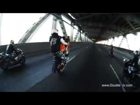 OAKLAND RUFF RYDERS STUNTIN 2011 ON SAN FRANCISCO BRIDGE