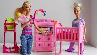 Barbie Doll Baby Sitter calls Disney Princess phone Barbie Puppy Tuffy help Barbie Doctor car  toy