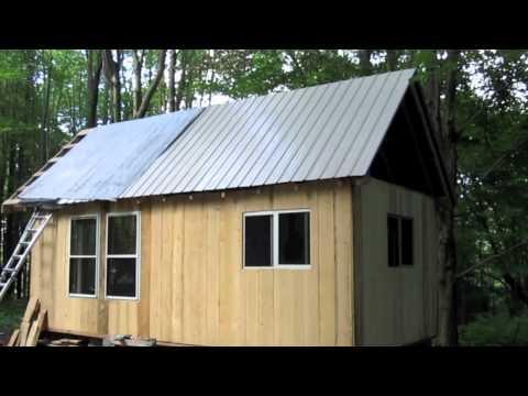 Guest Cabin - installing steel roofing 7-21-2012