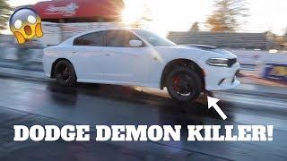 1000+ HP HELLCAT RACING AT DRAG STRIP! *DODGE DEMON KILLER*