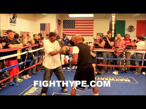 FLOYD MAYWEATHER WORKS THE MITTS IN PREPARATION FOR ROBERT GUERRERO