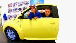 Driving in My Car Song | Ride on Yellow VW Beetle at Children's Museum Pretend Play Mechanic