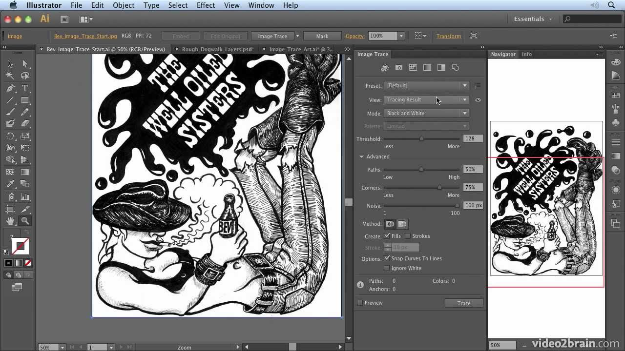 converting art to vector with image trace from  adobe illustrator cs6  learn by video
