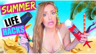 8 LIFE HACKS QUE TODOS DEBERÍAN SABER PARA EL VERANO! | WEIRD SUMMER LIFE HACKS! | Katie Angel