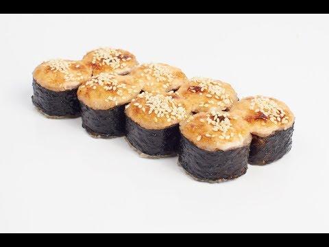 Запеченный ролл с угрем и лососем/Горячий ролл с лососем/Горячий ролл рецепт в домашних условиях
