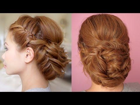 Braided Prom Updo Hair Tutorial - Fonott  fejtetőre fésült frizura
