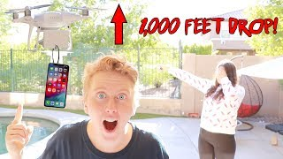 I MADE AMEERAH DROP HER OWN IPHONE XS PRANK ~ 1000 FEET DROP FROM DRONE!