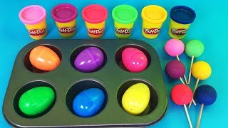 Making 6 big Surprise Eggs out of Play Doh and Small surprise Eggs PJ Masks Paw Patrol Hatchimals
