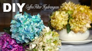 DIY | Simple Realistic Hydrangeas - Coffee Filter Flowers