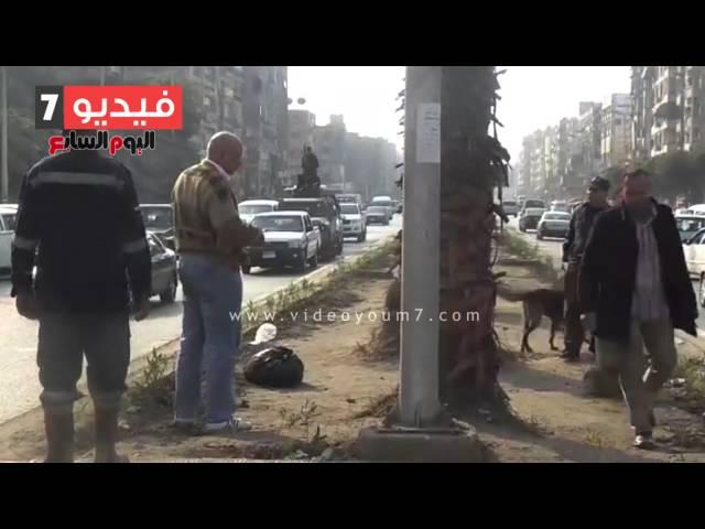 بالفيديو..الأمن يشتبه فى جسم غريب بمكان الاشتباك مع الإخوان بالهرم