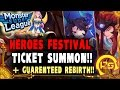 Monster Super League: HEROES FESTIVAL TICKET SUMMON!! FIRST BATCH OF PULLS!! + GUARANTEED REBITH ♕