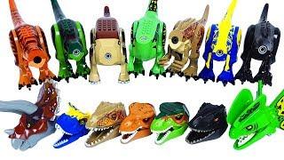 쥬라기월드 레고 공룡 블럭 장난감 머리 맞추기 놀이 - 티렉스 트리케라톱스 딜로포사우루스 인도미누스 렉스 카르노타우루스 인도랩터