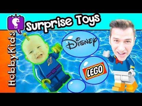 Alien BABY Destroys Mini Mouse by the Pool! Disney LEGO Minifig Surprise Toys w/HobbyDino HobbyKids