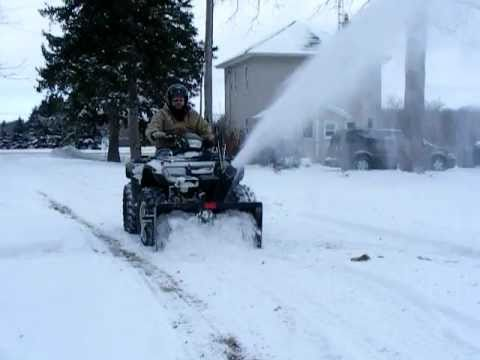 homebuilt - homemade atv snowblower at work
