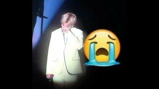"Baekhyun tear up after singing ""Cry"" @ CBX Magical Circus in Fukuoka."