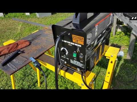 Harbor Freight 90amp flux wire welder test.