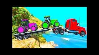 COLOR TRUCK & TRACTORS for Kids w SUPERHEROES Fun Animation Siêu Nhân Nhện Hoạt Hình Vui Nhộn - Ngư