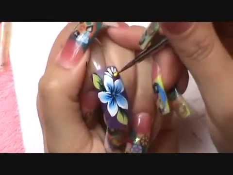 Dise~o a Mano Alzada ( one stroke step by step ) Nails Design