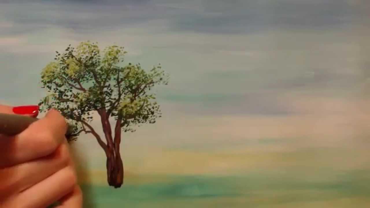 Как нарисовать дерево гуашью для начинающих