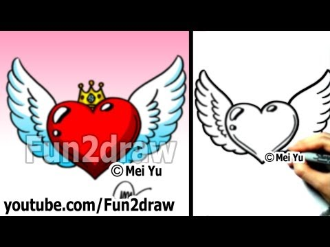 How to Draw a Heart with Wings and Crown (easy drawing tutorial) - Art Lessons - Fun2draw
