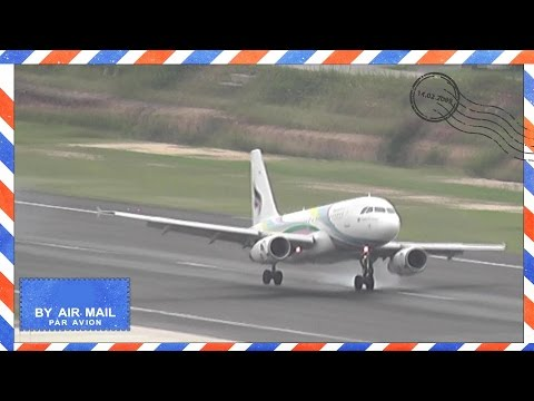 UNSTABLE & HARDISH Landing of Bangkok Air Airbus A319 at Koh Samui Airport - HS-PGN