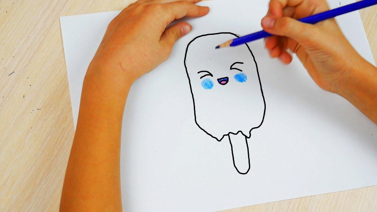Что нарисовать поэтапно карандашом мороженое с карандашом