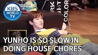 Yunho is so slow in doing house chores [Trio's Childcare Challenge/ENG/2019.09.18]
