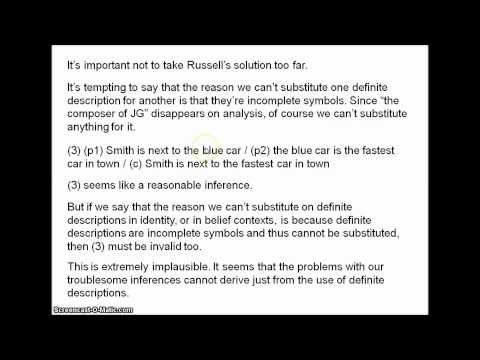 russells theory on definite description essay Bertrand russell, the value of philosophy abstract: russell distinguishes between the practical and the philosophic mind, compares the relation of science and philosophy, and traces the major goals of philosophy in chapter fifteen of his problems of philosophy.