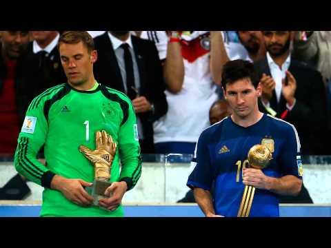 Lionel Messi is consoled by Bastian Schweinsteiger