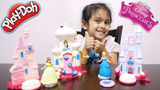 Play Doh Disney Princess Sparkle Kingdom with CINDERELLA, BELLE and JASMINE