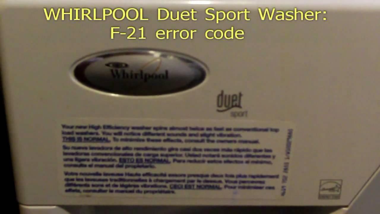 Whirlpool Duet Sport F21 Error Code Fix Youtube