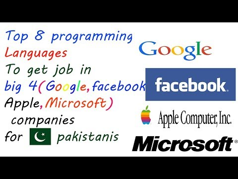 Top 8 Programming languages to get job in( Facebook, Apple, Microsoft, Google,) for PAKISTANIS