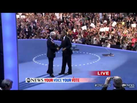 Bill Clinton DNC Speech Ends, President Obama Arrives on Stage at Democratic National Convention