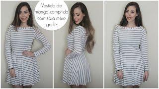 Vestido com saia meio godê e manga comprida | Modelagem e costura | #VEDA12