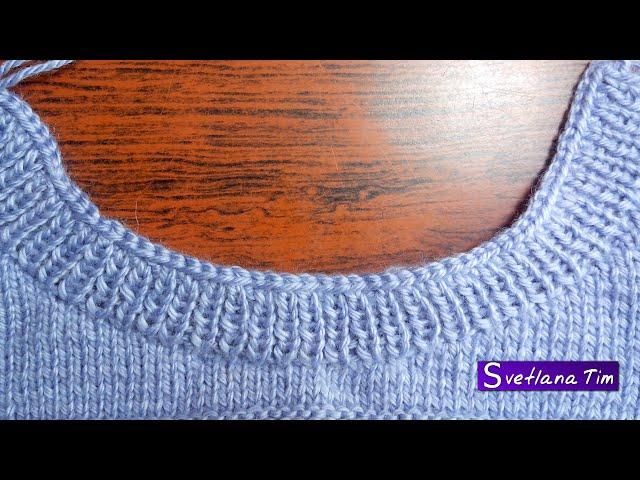 Как вязать спицами вырез горловины круглый