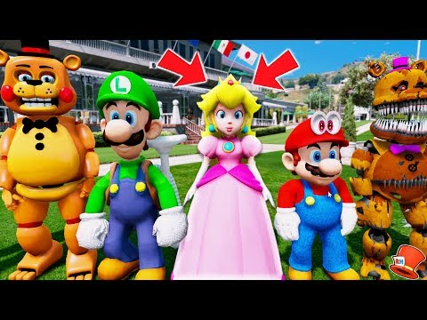 ANIMATRONICS & NEW SUPER MARIO ODYSSEY PRINCESS PEACH! (GTA 5 Mods For Kids FNAF RedHatter)