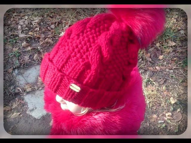 Теплая шапка с отворотом, вязание спицами