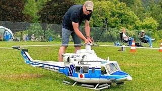 BELL-412 (JA6795) GIANT RC SCALE MODEL TURBINE HELICOPTER FLIGHT DEMONSTRATION